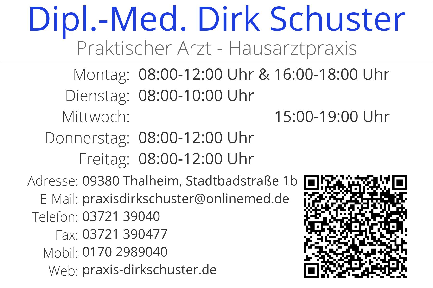 Visitenkarte Arztpraxis Dirk Schuster